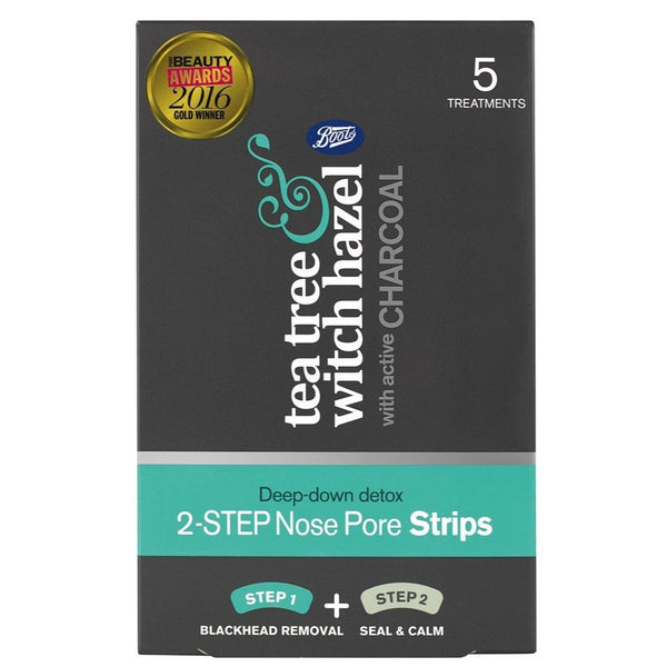 Boots Tea Tree and Witch Hazel 2in1 nose strip charcoal