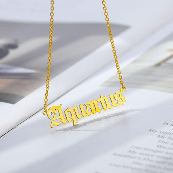 Aquarius Stainless Steel Zodiac Necklace - Starfyx