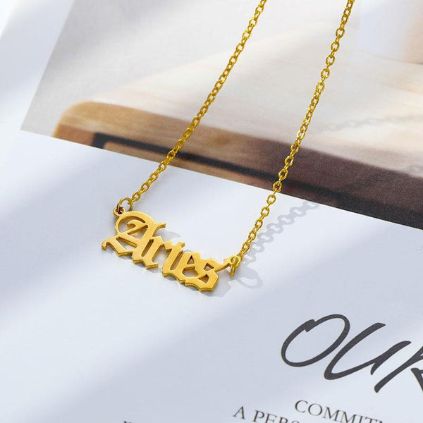 Aries Stainless Steel Zodiac Necklace - Starfyx