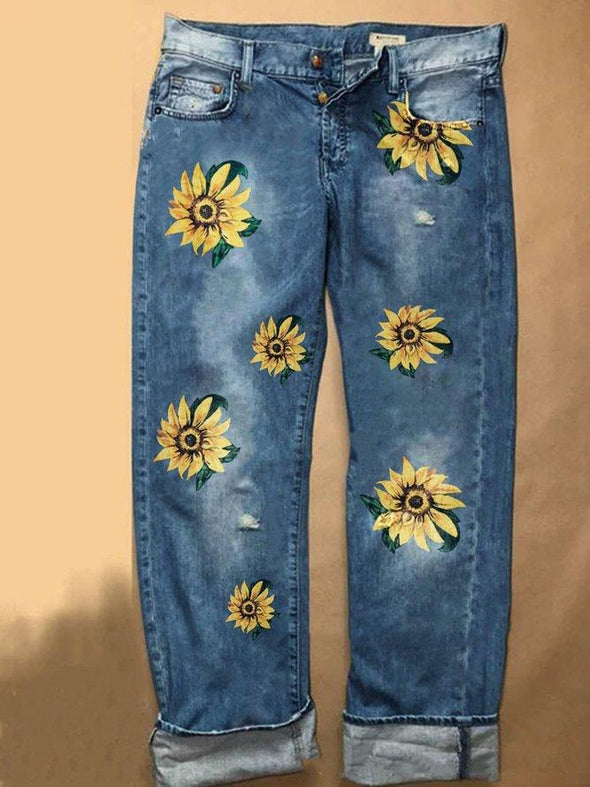 Casual Plus Size Women S-3XL Sunflower Embroidery Jeans