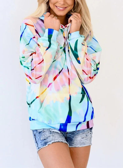 Abstract Long Sleeve Casual Hoodie