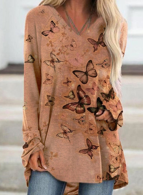 Butterfly Print Long Sleeve V Neck Loose Tunic Sweatshirt
