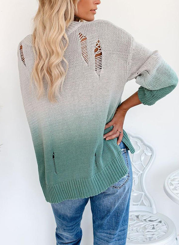 Color Block Long Sleeve Round Neck Tunic Sweater