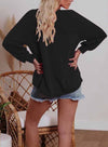 Solid Letter Print Long Sleeve Tunic Sweatshirt