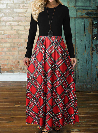 Color Block Plaid Round Neck Maxi Dress