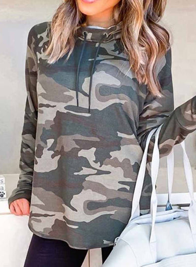 Camouflage High Neck Daily Sweatshirt