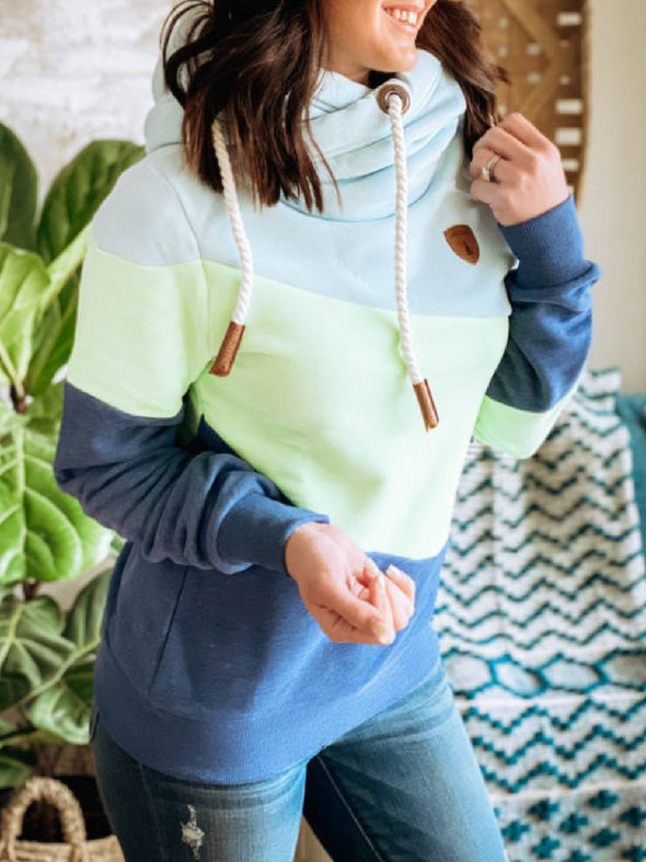 Womens stitching pile collar hoodie