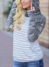 Striped Long Sleeve Daily Sweatshirt