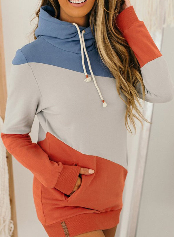 Color Block Long Sleeve Hooded Tunic Sweatshirt