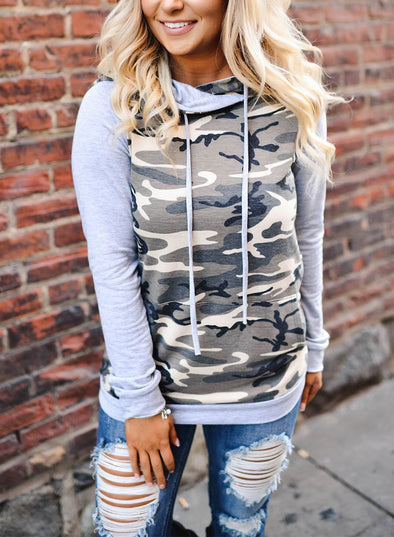 Camouflage Drawstring Pockets Long Sleeve Hoodie