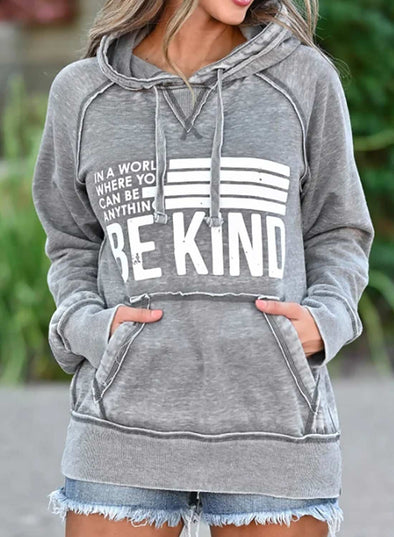 Casual Letter Print Pocket Hoodie