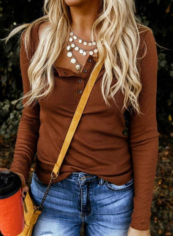Solid Color Button V Neck Casual Long Sleeve Sweatshirt