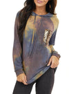 Womens Long Sleeve Tie Dye Sequins Hoodies