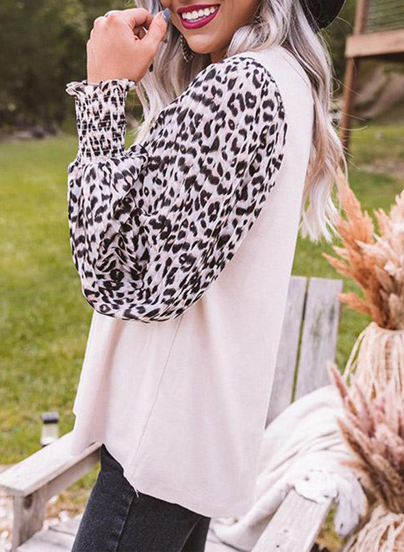 Leopard Long Sleeves Round Neck Casual Sweatshirts