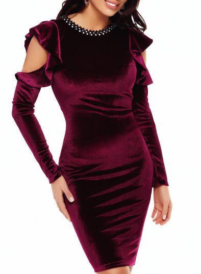 Solid Long Sleeve Bodycon Round Neck Dresses