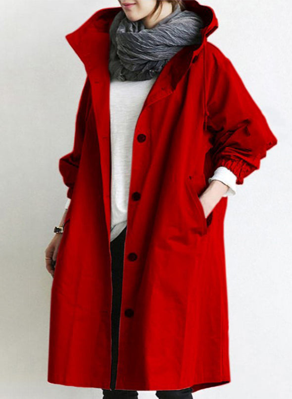 Red Leisure Casual Color Block Coat LC851812-3