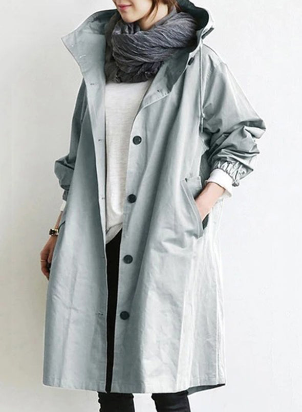 Gray Leisure Casual Color Block Coat LC851812-11