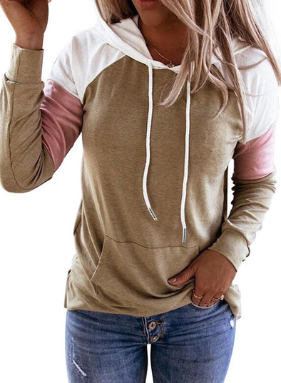 Casual Color Block Drawstring Daily Hoodie