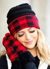 Red Large Lattice Crimped Knitted Ladies Woolen Hat LC02265-3