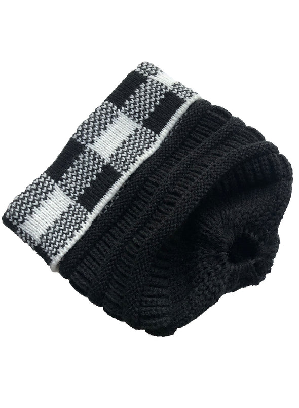 Black Large Lattice Crimped Knitted Ladies Woolen Hat LC02265-2