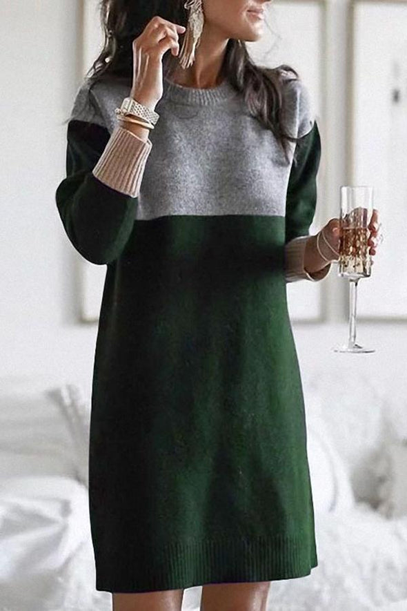 Green Casual Color Block Knitted Sweater Dress LC223656-9