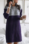 Blue Casual Color Block Knitted Sweater Dress LC223656-5