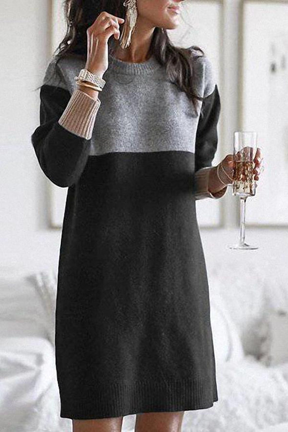 Black Casual Color Block Knitted Sweater Dress LC223656-2