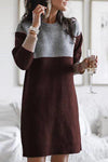 Brown Casual Color Block Knitted Sweater Dress LC223656-17