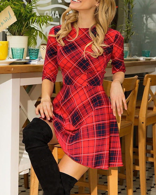 Half Sleeve Plaid Casual Flared Dress