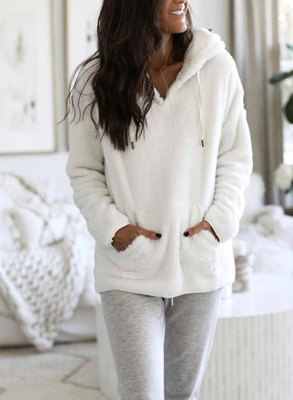 White Women's Hoodies Solid Long Sleeve Plush Pockets Hoodie LC2535087-1