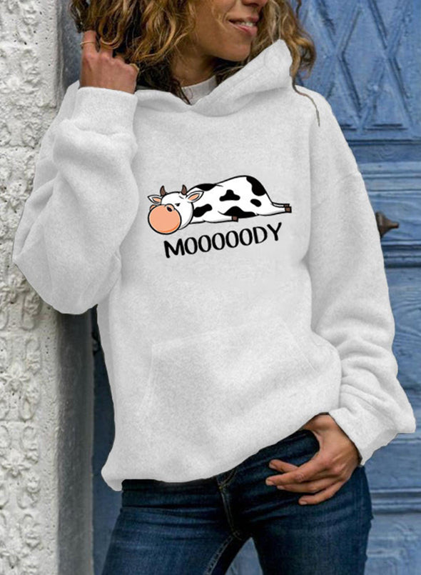 White Women's Hoodies Animal&Letter Print Long Sleeve Hoodie LC2535067-1