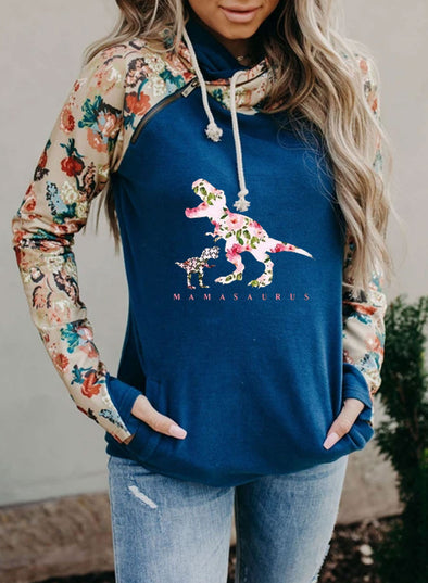 Blue Women's Hoodies Drawstring Long Sleeve Floral Hoodies With Pockets LC2535100-5