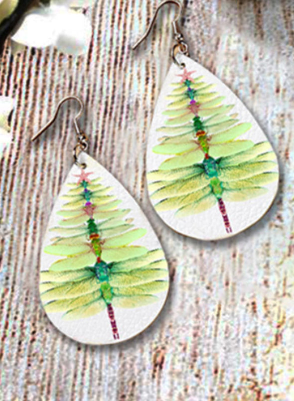 Green Women's Earings Dragonfly Animal Print Fruits&Plants Earings LC01820-9