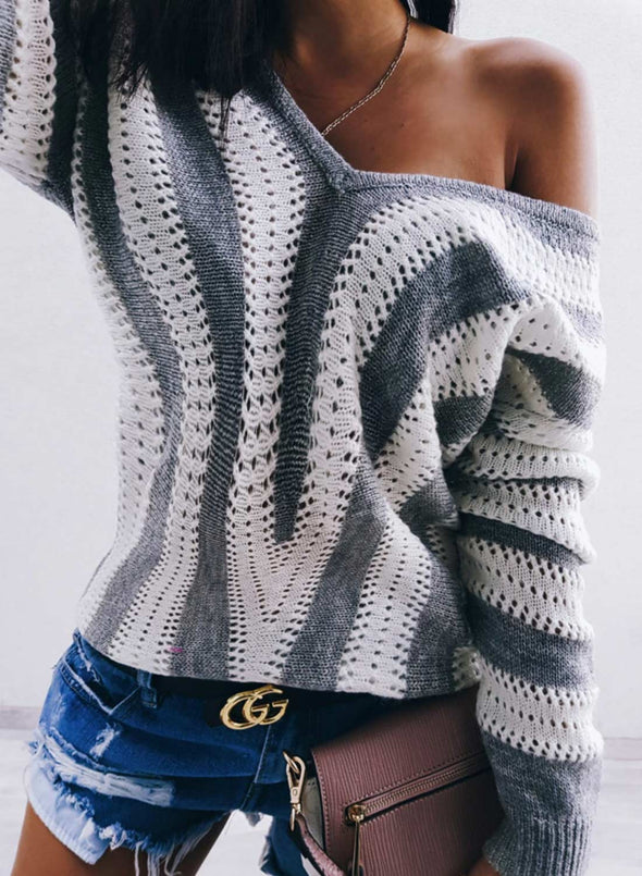 Gray Women's Sweaters Color-block Striped Long Sleeve V Neck Sweater LC272991-11
