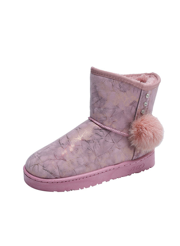 Pink Women's Boots Gold-stamped Crackled Snow PU Leather Boots LC12636-10