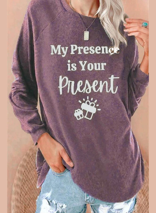Purple Women's Sweatshirts Letter Print Long Sleeve Round Neck Sweatshirt LC2514787-8