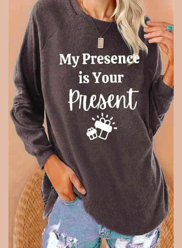 Gray Women's Sweatshirts Letter Print Long Sleeve Round Neck Sweatshirt LC2514787-11