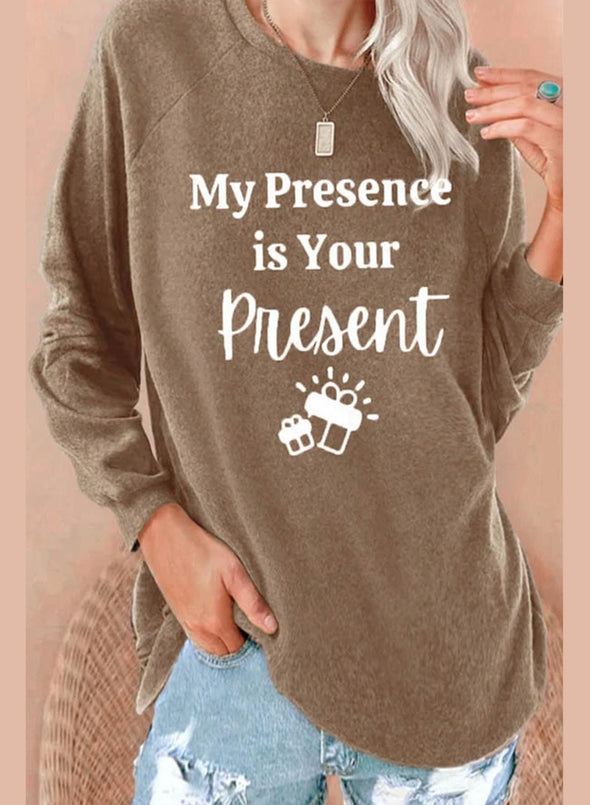 Brown Women's Sweatshirts Letter Print Long Sleeve Round Neck Sweatshirt LC2514787-17