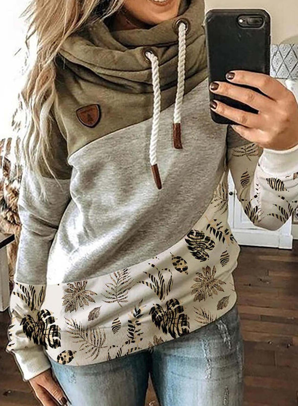 Gray Women's Hoodies Floral Color Block Long Sleeve Hoodie LC2535773-11