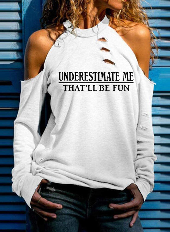 White Women's Sweatshirts Letter Print Solid Long Sleeve Cut-out Cold Shoulder Sweatshirt LC2514867-1