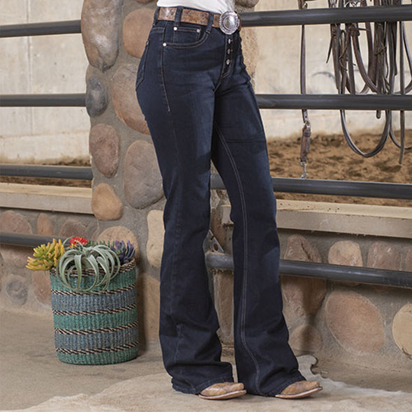 Blue Women's High Rise Classic Button Bootcut Flare Stretchy Washed Jeans LC781097-5