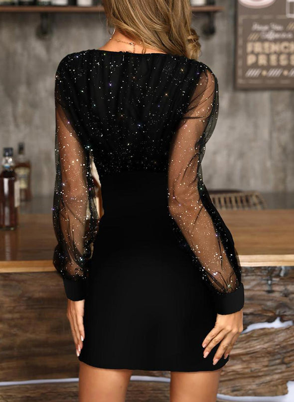Black Women's Mini Dresses Holiday Long Sleeve Bodycon Lace V Neck Party Prom Date Festival Sequin Mini Dress LC224159-2