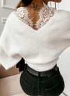 White Women's Pullovers Lace Plush Solid Long Sleeve V Neck Daily Pullover LC2515130-1