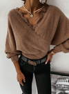 Brown Women's Pullovers Lace Plush Solid Long Sleeve V Neck Daily Pullover LC2515130-17
