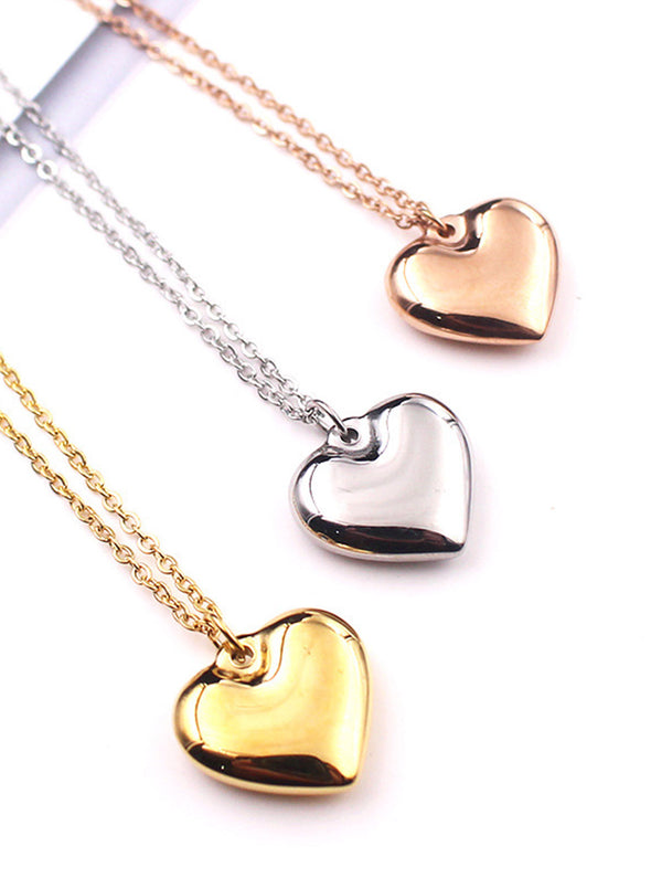 Gold Women's Necklaces Valentine's Day Sweatheart Solid Necklaces LC011053-12