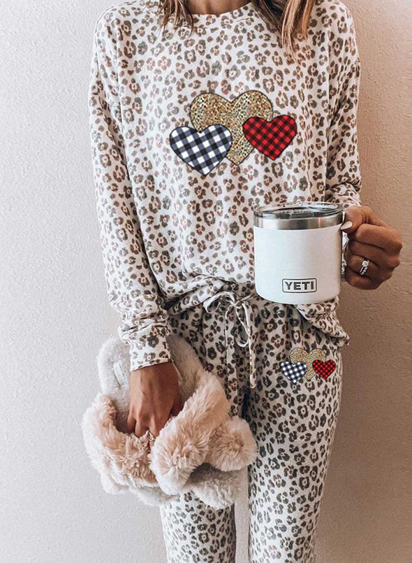 Leopard Women's Loungewear Sets Leopard Heart-shaped Print Long Sleeve Round Neck Belt 2-Piece Loungewear Set LC4511053-20