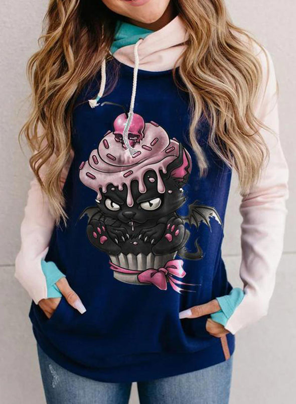 Blue Women's Hoodies Cat Print Color Block Long Sleeve Casual Pocket Hoodie LC2536335-5