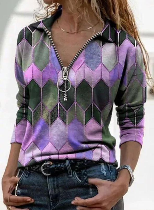 Purple Women's Pullovers Color Block Long Sleeve V Neck Casual Zip Pullover LC2515390-8