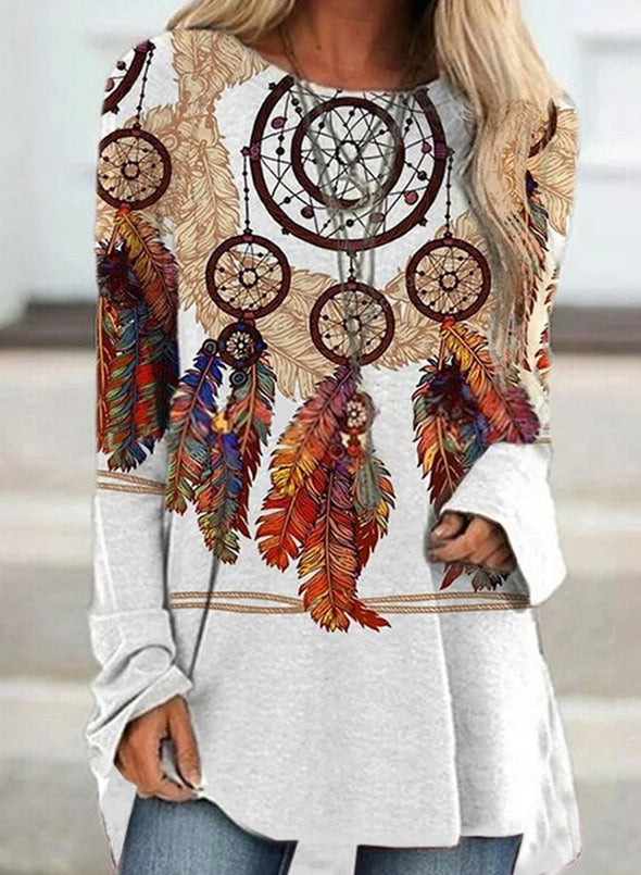 White Women's Tunics Tribal Round Neck Long Sleeve Casual Tunic LC2515500-1