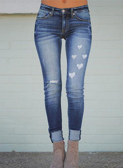 Sky Blue Women's Jeans Heart-shaped Holiday Slim High Waist Full Length Pocket Daily Jeans LC781426-4